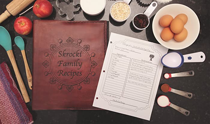 Custom 3 ring recipe binder and organizer with personalized recipe