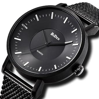 Relojes Negro para Hombre Reloj Analógico Impermeable de Cuarzo ...