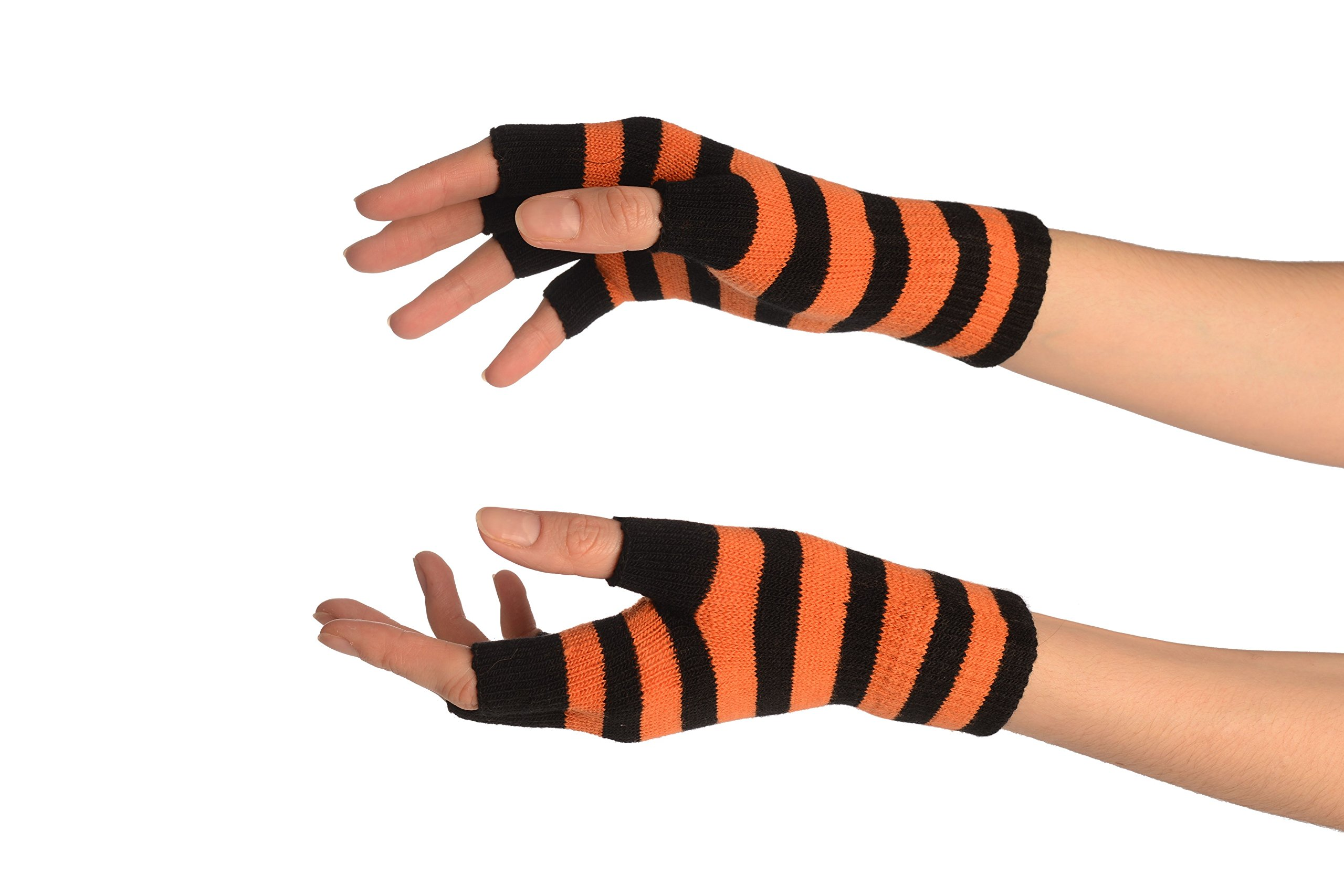 Orange & Black Stripes Short Fingerless Gloves - Gloves
