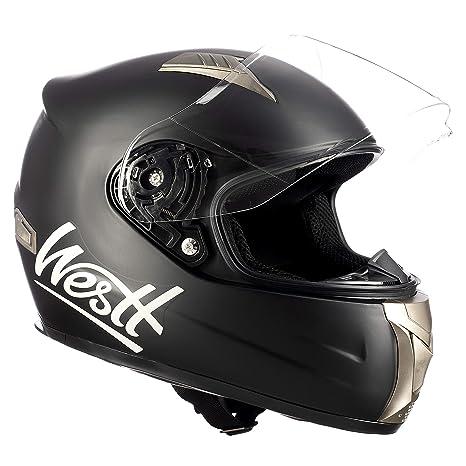 Westt® Storm · Casco Moto Integral Motocicleta Ciclomotor y Scooter en Negro Mate · Cascos