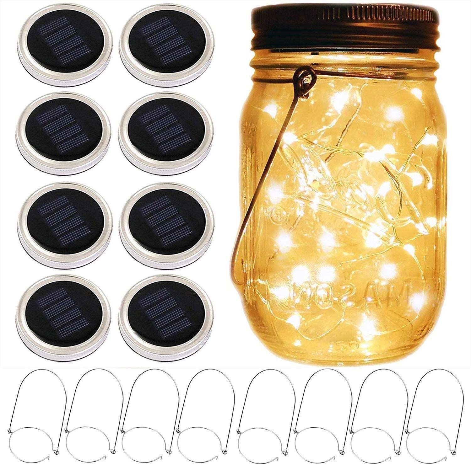 Guirnaldas luminosas Mason Jar Solar Lantern Lights, 8 Pack 10 LED Fairy Star Firefly Solar Lids Jar Lights, 8 perchas incluidas (sin frascos), for Mason Jar Wedding Patio Garden Lanterns Luces de dec