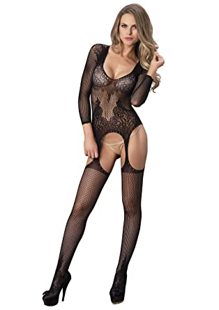 ecdf70ca7b Leg Avenue Womens 89173 Long Sleeve Ring Net and Floral Lace Suspender Bodystocking  Bodystocking - Black