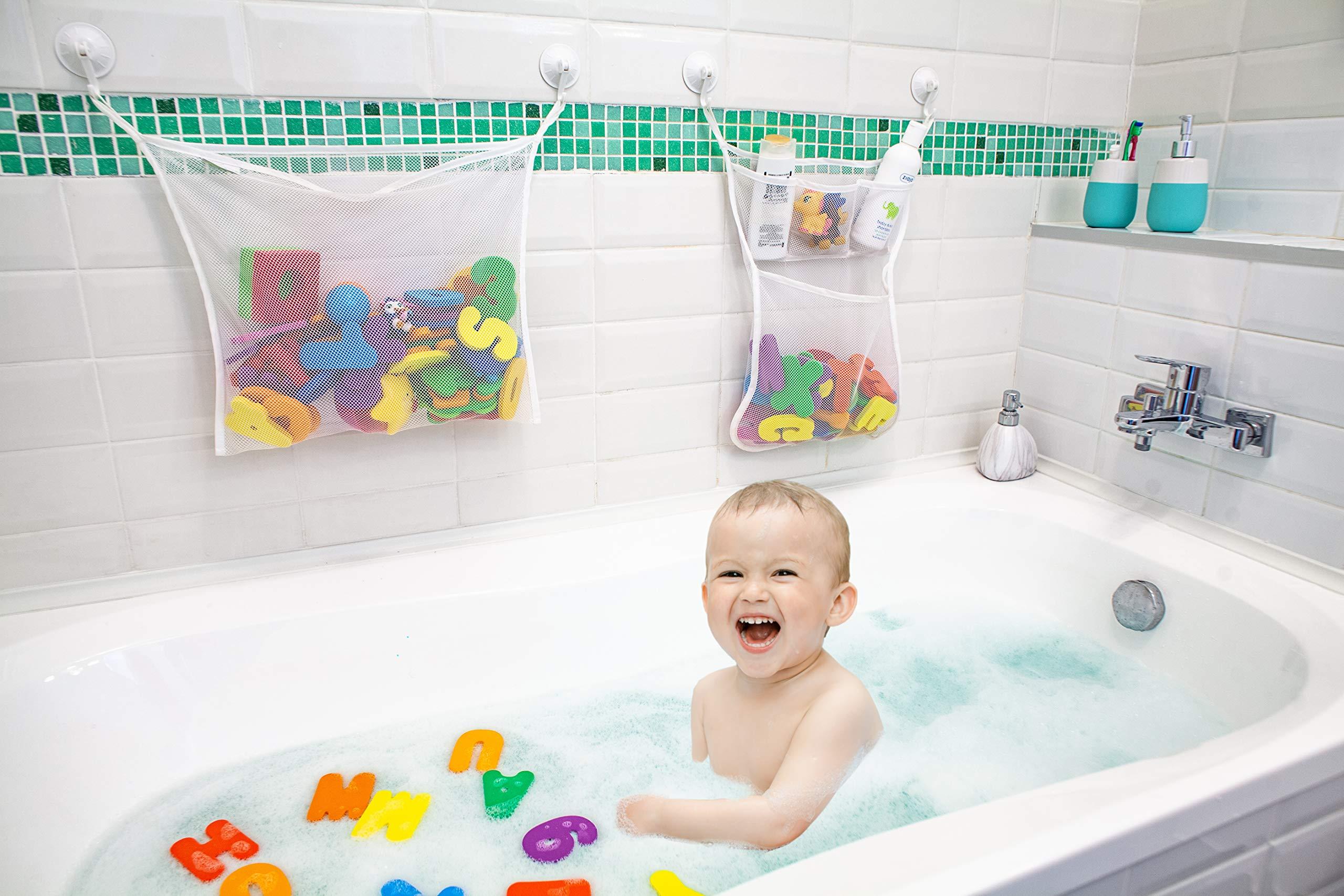 2 Bath Toy Organizer Kids Bathtub Multipurpose Mesh Storage Bags 6 Strong Hooks