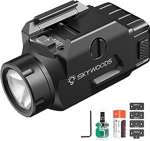 Skywoods Rail Mounted Tactical Flashlight 600 Lumen High Brightness Weapon Light Shotgun Pistol Flashlight Tactical Torches with Rail Locating Keys, Strobe Mode, CR123A Lithium Battery