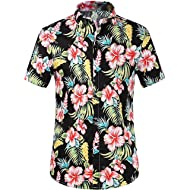 Kurop Men's Button Down Causal Short Sleeve Aloha Hawaiian Shirts Summer Flower