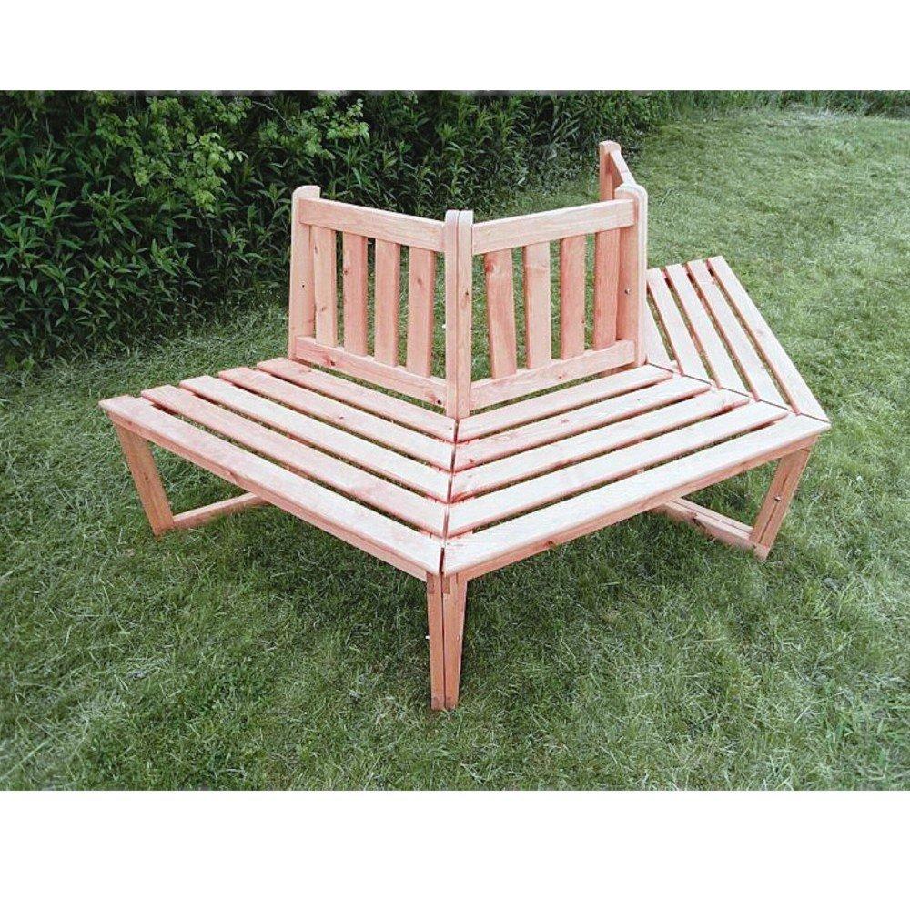 1/2 Baumbank 180° Sitztmöbel mit oder ohne Auflage Holz Gartenmöbel, Zubehör:Ohne Zubehör