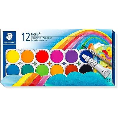 Staedtler Noris Club 888 NC12. Acuarelas para colorear. Caja con 12 pastillas de colores