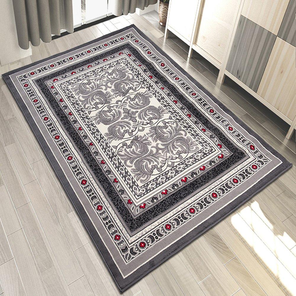Carpeto Teppich Klassisch Ornamente Blumen Muster Meliert in Grau - ÖKO Tex (250 x 350 cm)