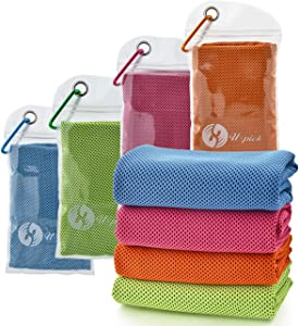 "U-pick 4 Packs Cooling Towel (40""x 12""), Ice Towel,Microfiber Towel,Soft Breathable Chilly Towel for Yoga,Sport,Gym,Workout,Camping,Fitness,Running,Workout&More Activities"