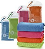 """U-pick 4 Packs Cooling Towel (40""""x 12""""), Ice Towel, Microfiber Towel, Soft Breathable Chilly Towel for Yoga, Sport, Gym, Workout,Camping, Fitness, Running, Workout & More Activities"""