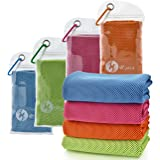 """U-pick [4 Packs] Cooling Towel (40""""x 12""""), Ice Towel, Microfiber Towel, Soft Breathable Chilly Towel for Yoga, Sport…"""