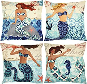 ZUEXT Nautical Mermaid Decorative Throw Pillow Covers 18 x 18 Inch Set of 4, Cotton Linen Burlap Square Outdoor Cushion Cover Pillowcases, Home Decor Pillow Case for Car Sofa Bed Couch Ocean Theme