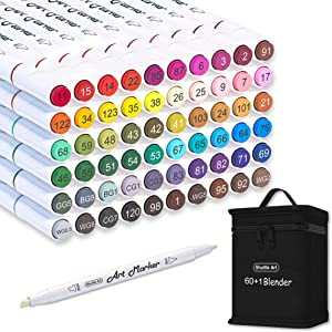 Shuttle Art 61 Colors Dual Tip Alcohol Based Art Markers, 60 Colors plus 1 Blender Permanent Marker Pens Highlighters with Case Perfect for Illustration Adult Coloring Sketching and Card Making