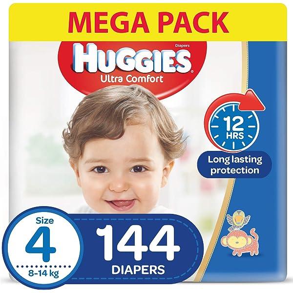 144 Windeln 9 bis 14 kg Mit N/ässeindikator und Wolken-Taillenb/ündchen-Technologie Monatsbox Huggies Ultra Comfort Pants Gr/ö/ße 4 F/ür aktive Kinder