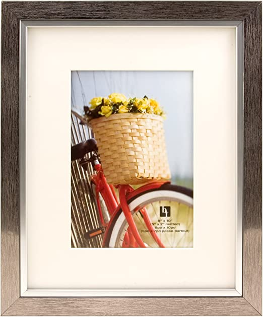 Silver with White Mat BorderTrends Legacy 8x10//5x7-Inch Photo Frame