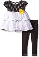 Youngland Girls' Polka Dot Knit To Tiered Crochet Legging Set