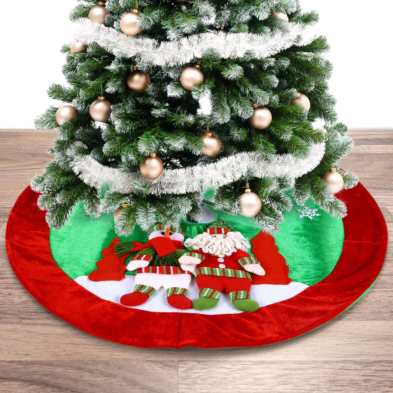 Gorgeous Pleuche Material Xmas Tree Decoration Skirt Ohuhu 35 Cute Santa and Snowman Dolls Design Christmas Tree Skirt