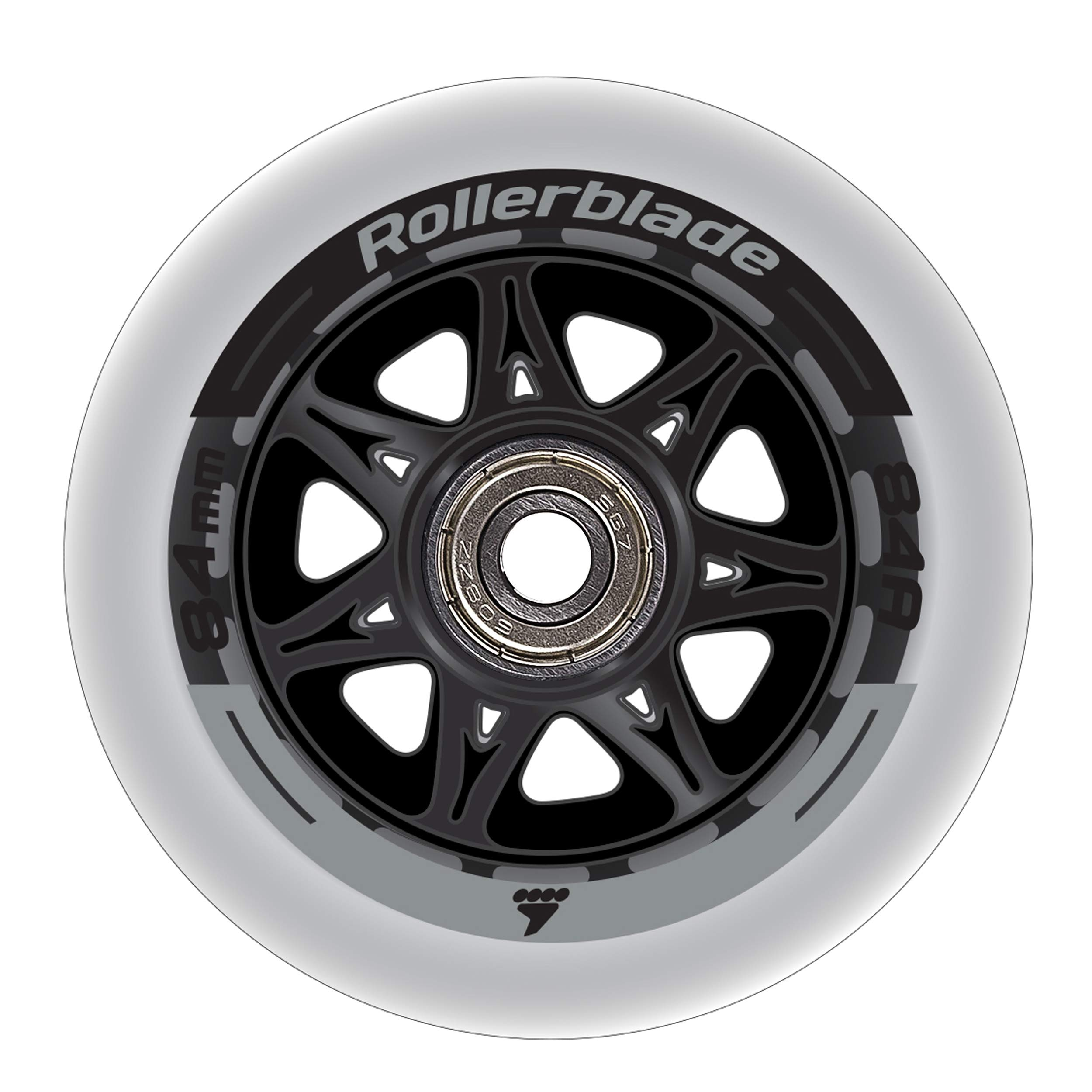 Rollerblade Wheelkit 84mm 84A, SG7 Bearings, 8 Pack, Clear, US Unisex ST by Rollerblade