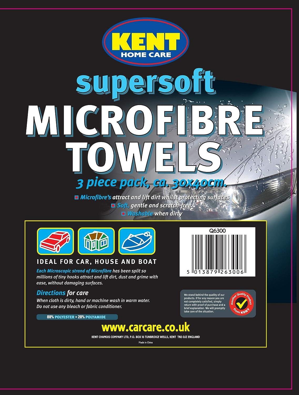 Kent Car Care Supersoft Microfibre Towels   3 Pack