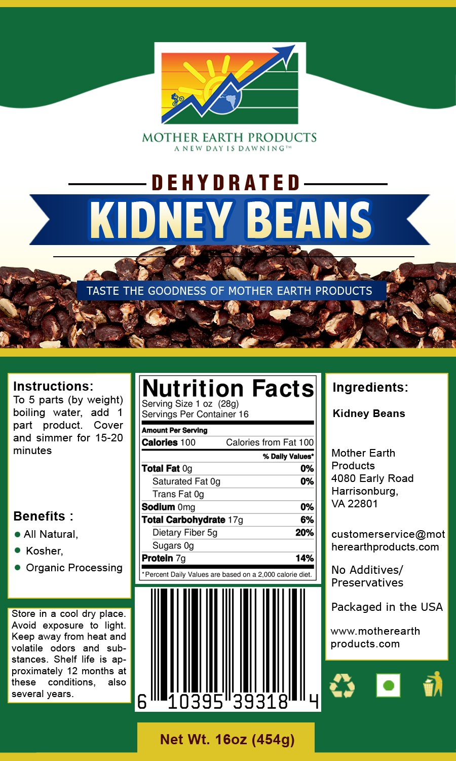 Mother Earth Products Dehydrated Instant Kidney Beans, Quart Mylar, 16 Ounce
