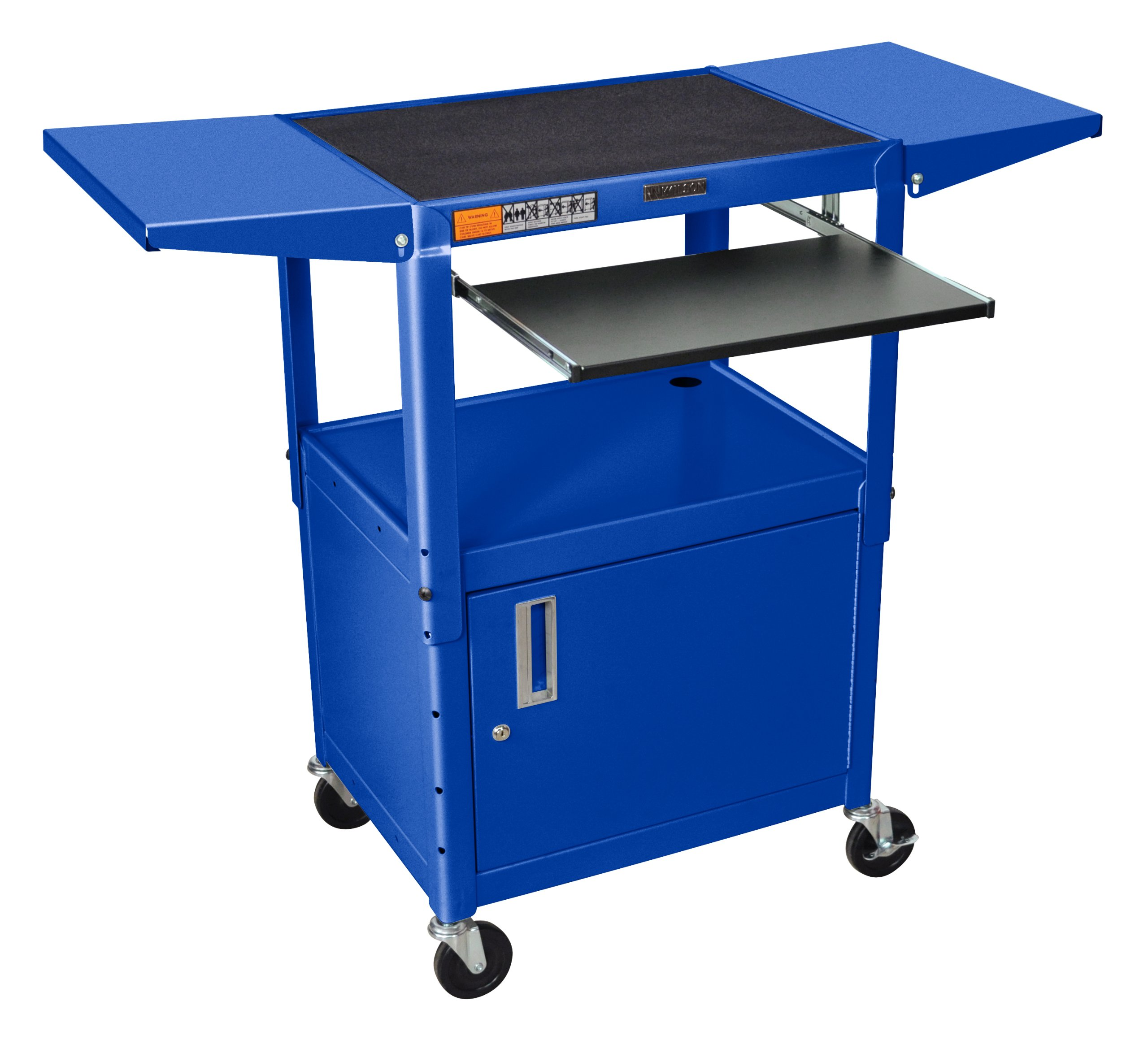 LUXOR AVJ42KBCDL-RB Metal A/V Cart with Pullout Keyboard Tray, Cabinet and 2 Drop Leaf Shelves, Adjustable Height, Blue