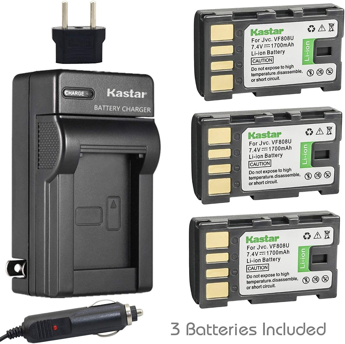 Kastar Battery (3-Pack) and Charger Kit for JVC BN-VF808 BN-VF808U and GZ-HM90 GZ-X900 GC-PX100 GC-P100 GC-PX1 GC-PX10 GR-D720 GR-D725 GR-D726 GR-D728 GR-D740 GR-D745 GR-D746 GR-D750 GR-D760 GR-D770