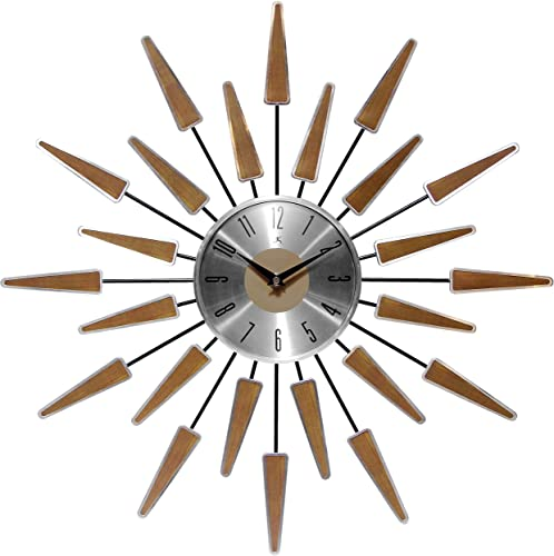 Infinity Instruments Wall Clock 24 inch Satellite Starburst Clock Midcentury Modern Wall Clock Satellite Wall Clock Home Decor Sunburst Mid Century