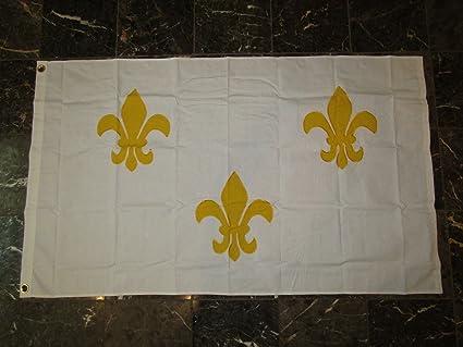 3x5 Embroidered Sewn Fleur De Lis Blue 3 100/% Cotton Flag 3/'x5/'