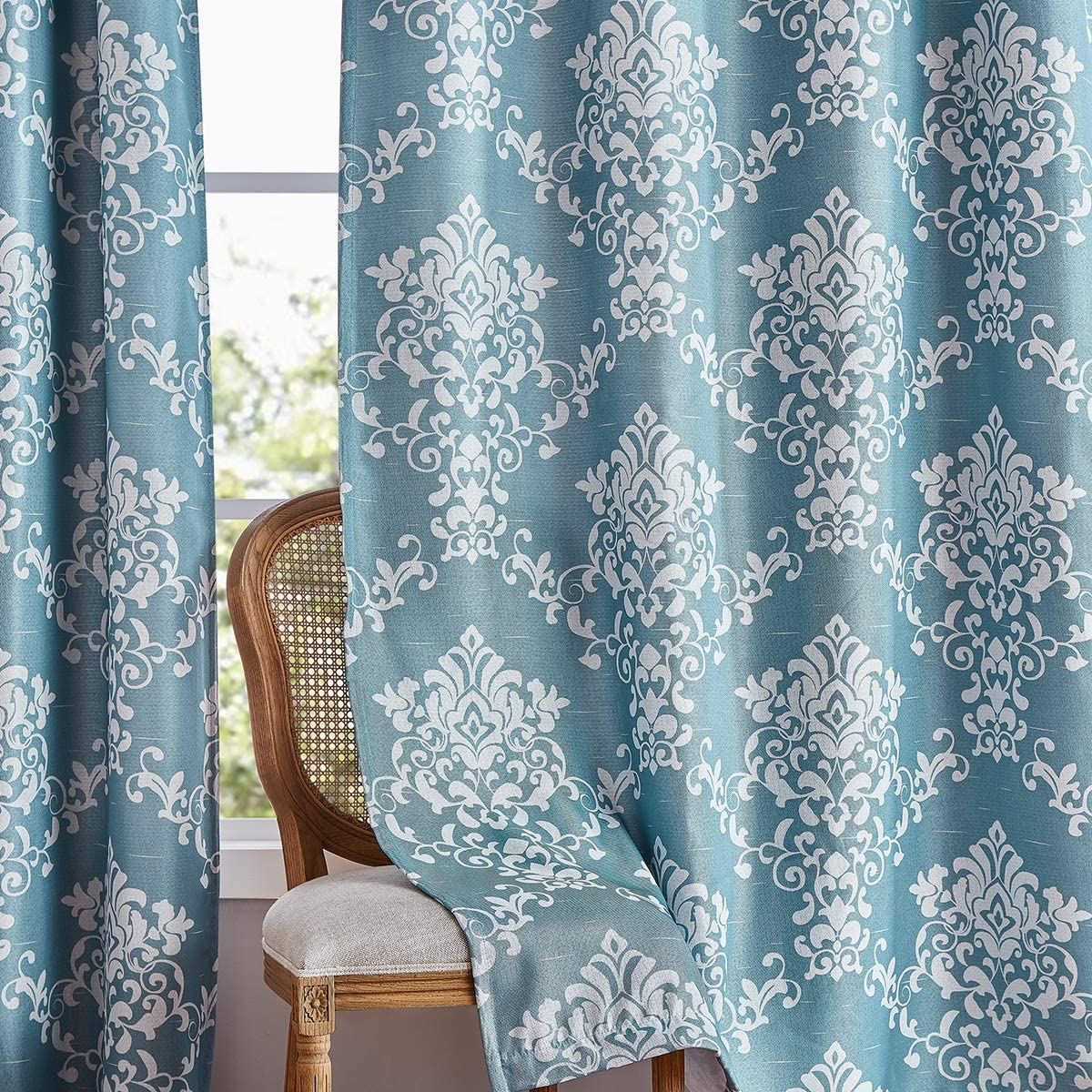Damask Print Curtains for Living Room Darkening Thermal Weave Drapes Vintage Linen Medallion Curtain Panels Window Treatment Sets for Bedroom Patio Door 1 Pair 95 Blue