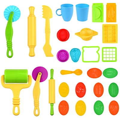 Kare & Kind 29pcs Smart Dough Tools Kit – (Dough Tools + Food and Fun Models): Baby