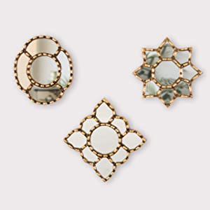 """Small Gold Accent Wall Mirror set of 3 - Decorative Vintage mirrors of 6"""" for wall, Peruvian Mirrors Vanity with gold leaf 'Cuzco Radiance'"""