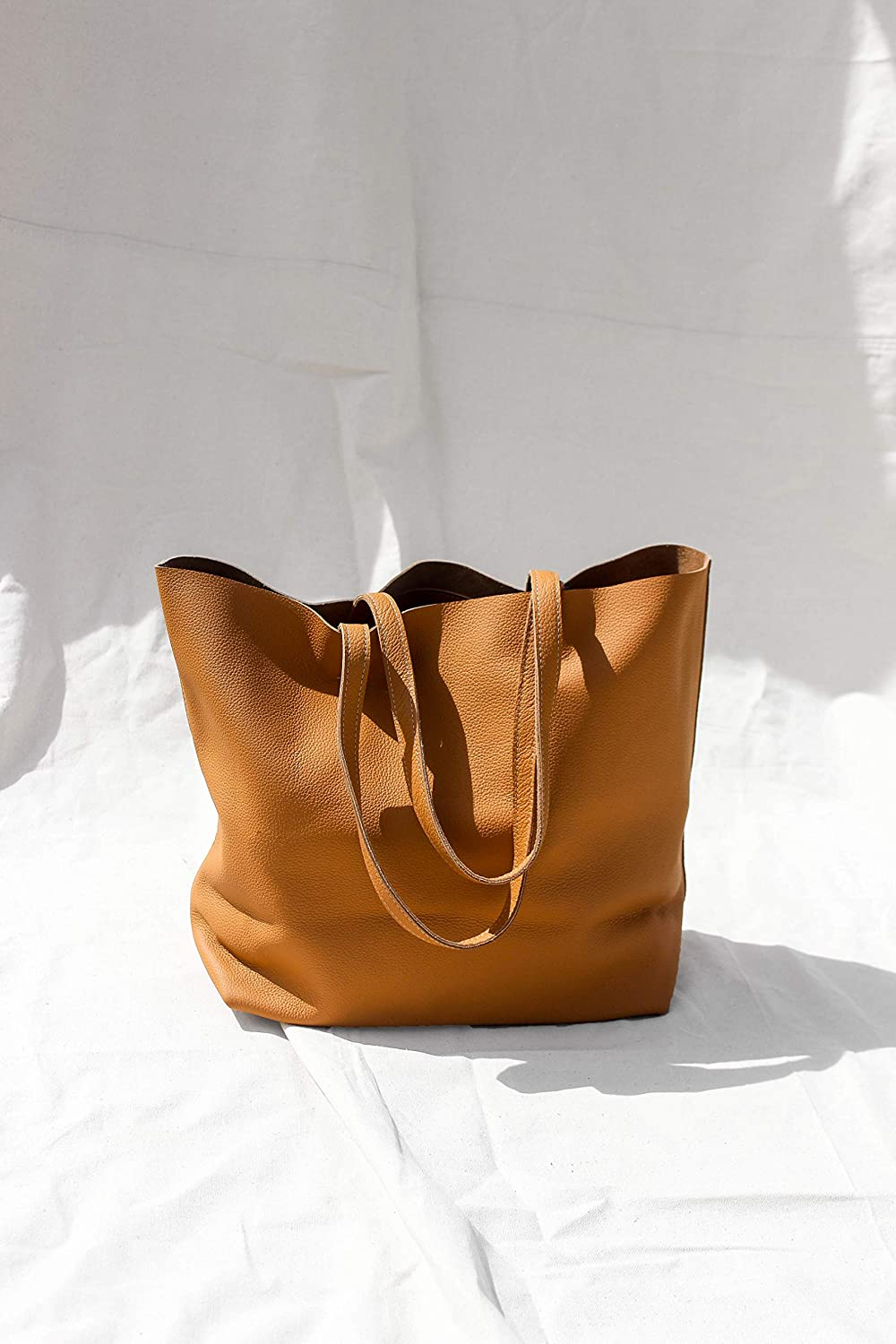 97262029d48 Amazon.com: Caramel - Oversized Leather Tote Bag: Handmade