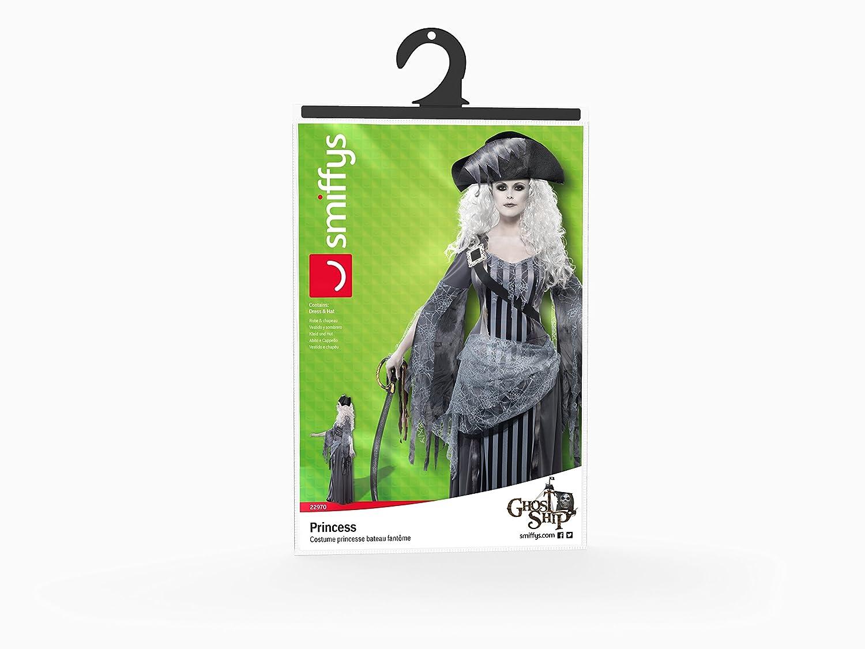 Smiffys Smiffys-22970L Halloween Disfraz de Princesa de Ghost Ship, con Vestido y Sombrero, Color Gris, L-EU Tamaño 44-46 22970L