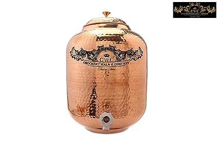 Vajilla Wala y empresa martillado Premium calidad 12 L dispensador de agua de cobre con funda