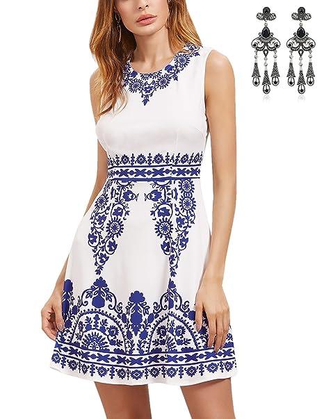 MODETREND Mujeres Elegante Vestidos Sin Mangas con Porcelana Azul y Blanco para Fiesta Bodas Cóctel