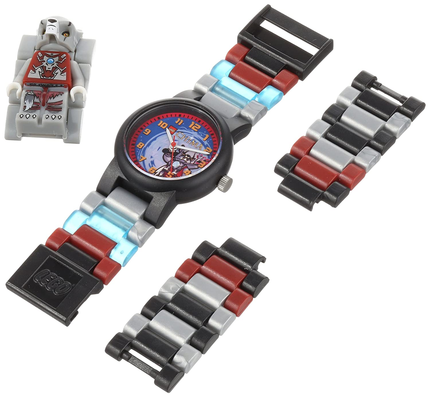 LEGO Kids' 9000423 Legends of Chima Worriz Plastic Watch with Link Bracelet and Figurine