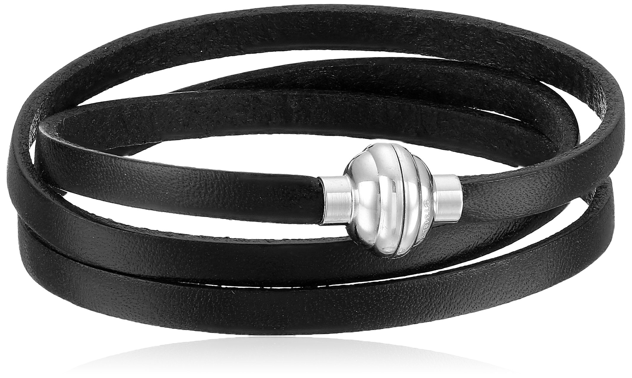 Black Leather Wrap Stainless Steel Magnetic Clasp Bracelet, 22.5''