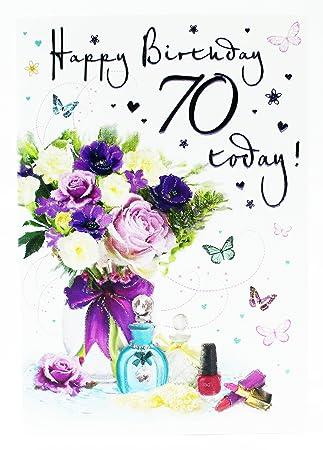 Happy 70 Geburtstag Grusskarte Alter Karte Fur Damen Hallmark Vers Blumen Luxus