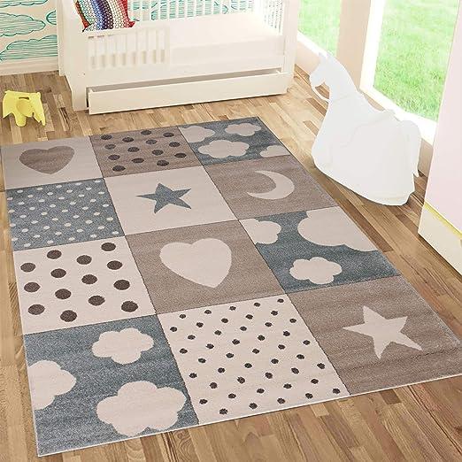 Kinderteppiche Patchwork Herz Sterne Wolke | Kinderteppich für Mädchen und  Jungs | Teppich für Kinderzimmer | Farbe: Blau, Grau & Rosa | ...