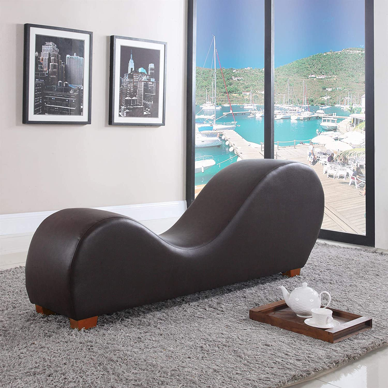 Fine Casa Andrea Milano Modern Brown Bonded Leather Yoga Stretch Chair Yoga Inversion Chaise Lounge Chair Indoor Stretching Rest Chair Lounger Chairs Spiritservingveterans Wood Chair Design Ideas Spiritservingveteransorg