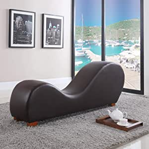 BD Home Furnishings New Brown Leather Yoga Chair Stretch Sofa Relax Sex Chair Love Making