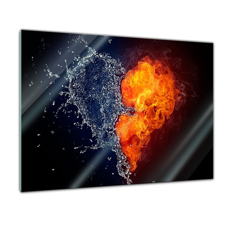 kein Acryl Herz Feuer und Wasser Bild auf Glas Deko Glas Wandbild aus Glas Handmade Echtglas Glasbild Moderne Glasbilder 20x20 cm Glasfoto