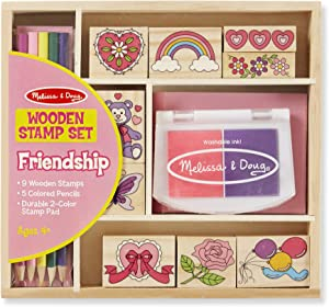 Melissa & Doug Wooden Stamp Set: Friendship (9 Stamps, 5 Colored Pencils, and 2-Color Stamp Pad)