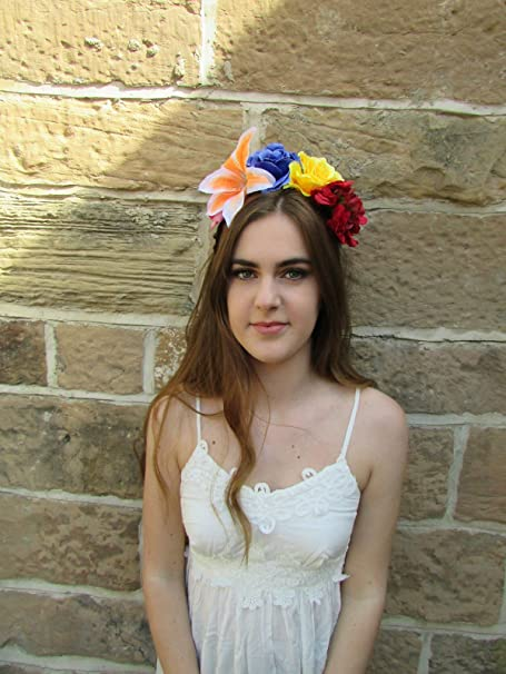 Grande Lily Rose Flor Tocado Diadema de Frida Kahlo Azul Corona de ...