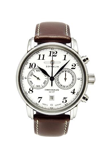 Zeppelin LZ 127 Graf Zeppelin - Reloj de caballero Suizo, correa de piel color marrón