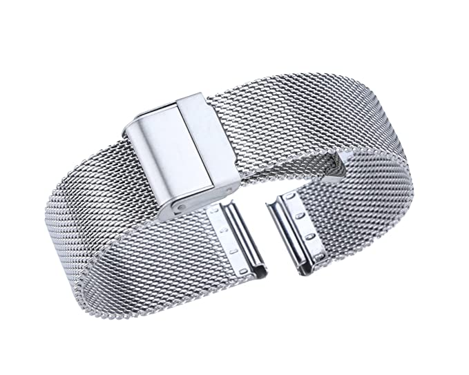 367cefffc 21mm Deluxe Metal Milanese Strap for Men's Classic Watch Smooth Stainless Mesh  Watch Wristband in Silver