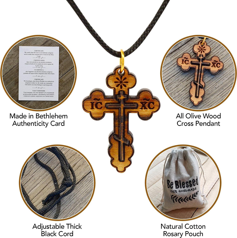 Kreuz Halskette Holzkreuz Olivenholz mit Schnur 6cm handgefertigt Bethlehem