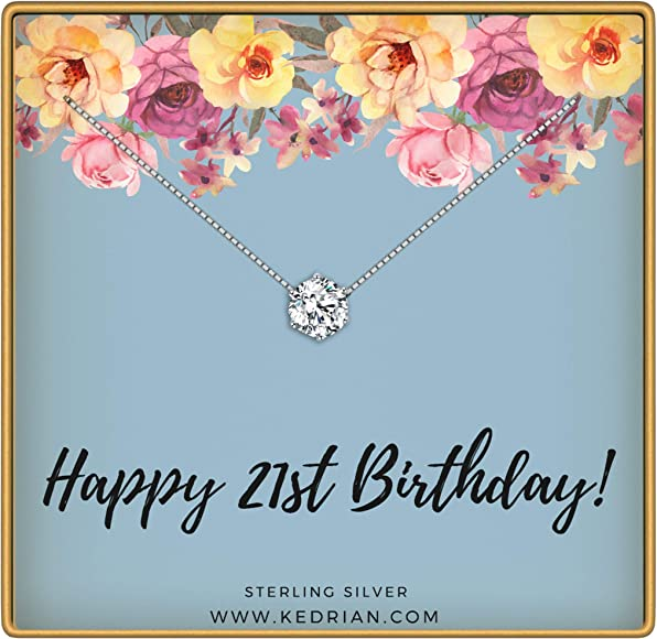 KEDRIAN 21st Birthday Necklace 925 Sterling Silver Gifts For Her
