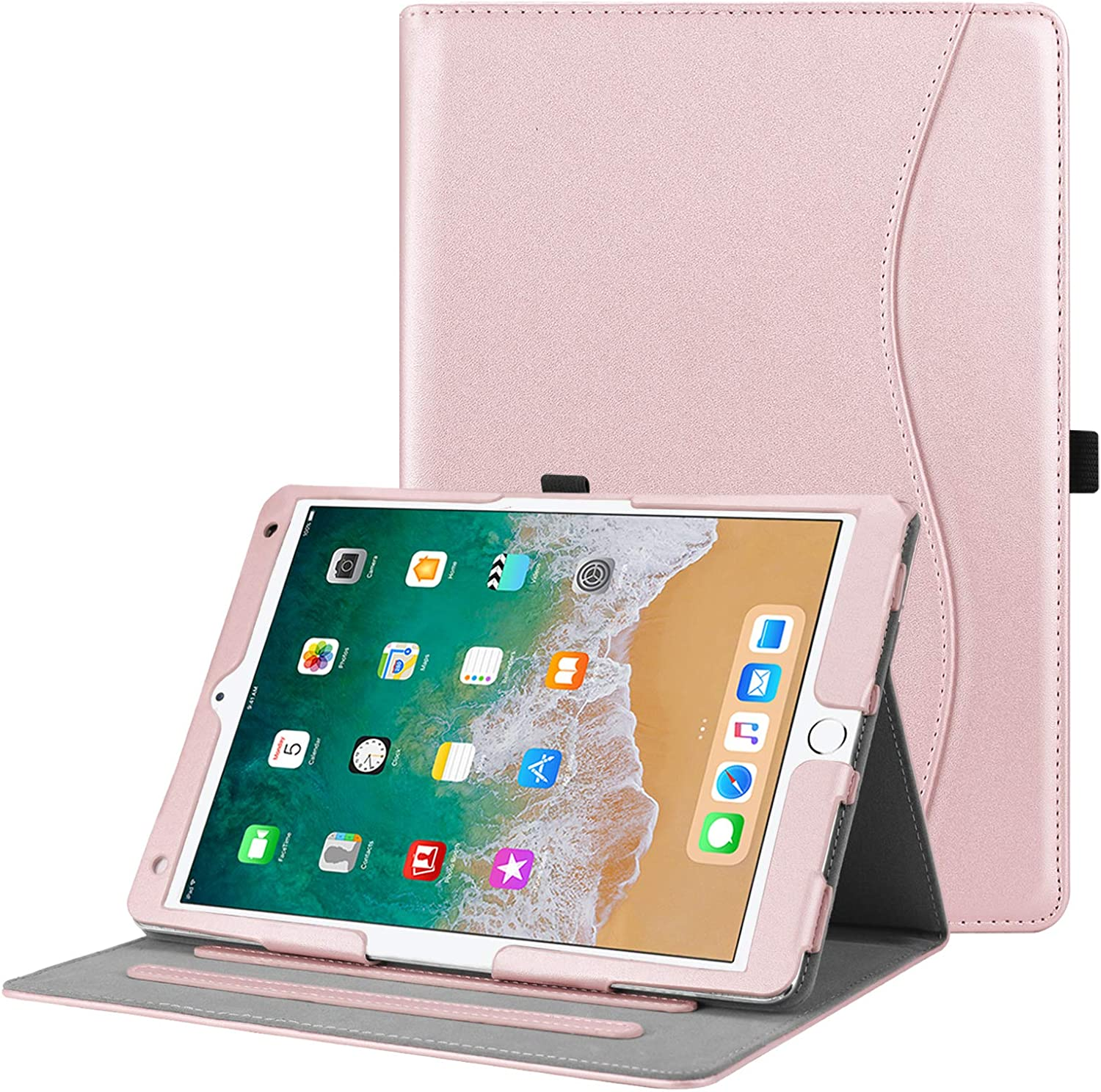 """Fintie Case for iPad Air 10.5"""" (3rd Gen) 2019 / iPad Pro 10.5"""" 2017 - [Corner Protection] Multi-Angle Viewing Folio Stand Cover with Pocket, Pencil Holder, Auto Wake/Sleep, Rose Gold"""