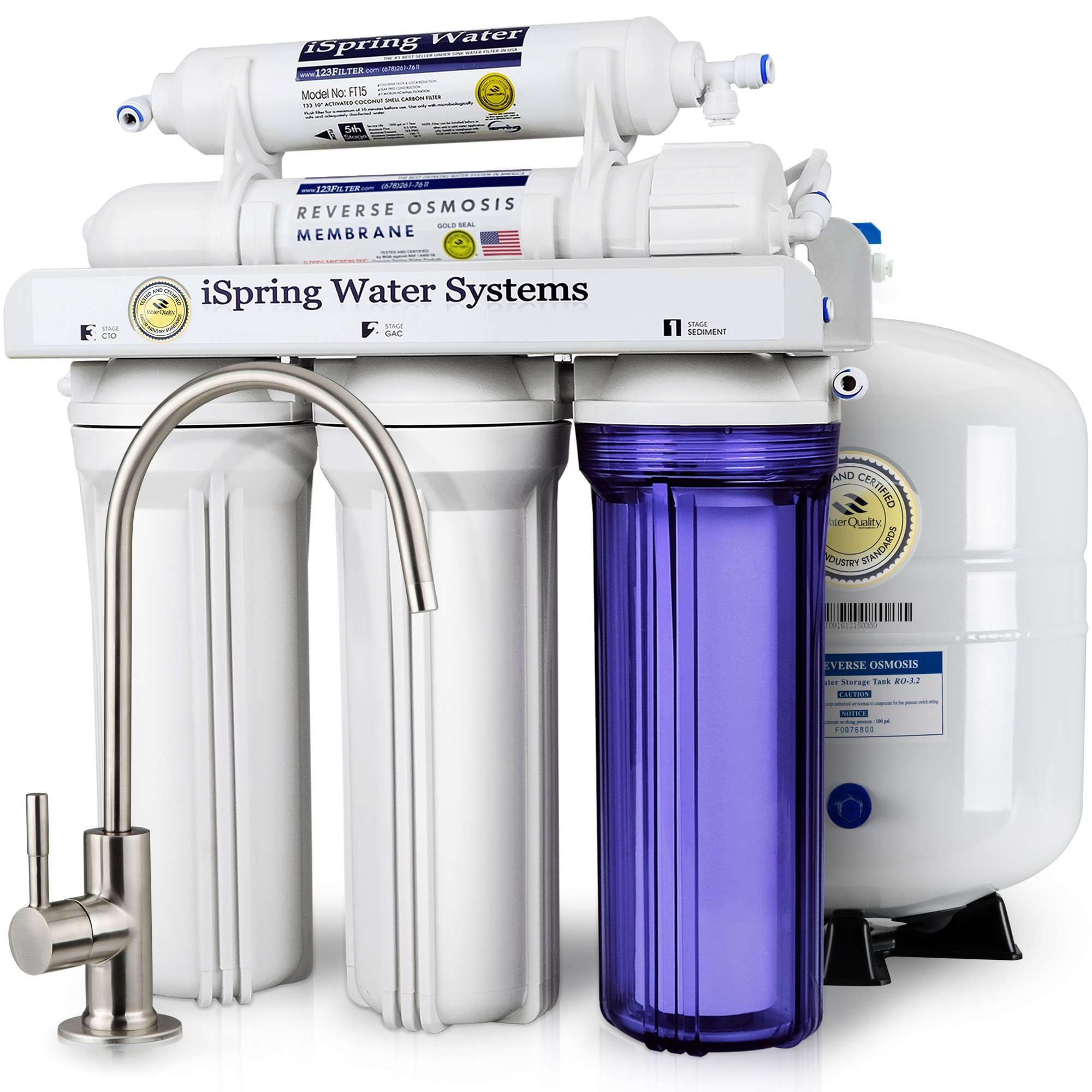 iSpring RCC7 WQA Gold Seal Certified 5-Stage Reverse Osmosis Drinking Water Filter System - 75 GPD by iSpring